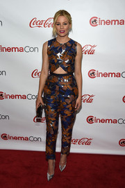 Elizabeth Banks cut a bold figure in a colorful Kaelen floral cutout jumpsuit during the CinemaCon Big Screen Achievement Awards.