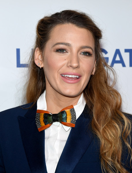 Blake Lively styled her outfit with a funky bowtie by Brackish.