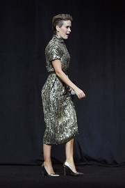 Sarah Paulson radiated onstage in a sequined top by Alberta Ferretti at CinemaCon 2018.