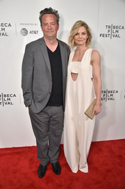 Jennifer Morrison went playful in a loose white U-neck jumpsuit by Opening Ceremony at the Tribeca Film Fest premiere of 'The Circle.'