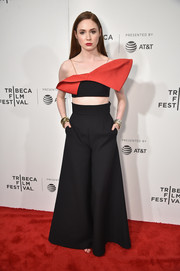 Karen Gillan went the ultra-modern route in a black and red bow crop-top by Vika Gazinskaya at the Tribeca Film Fest premiere of 'The Circle.'