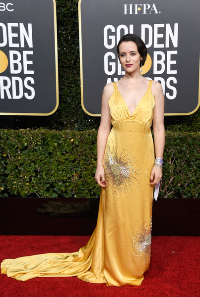 Claire Foy Beaded Dress [red carpet,dress,carpet,clothing,shoulder,fashion model,yellow,gown,premiere,fashion,arrivals,claire foy,the beverly hilton hotel,beverly hills,california,golden globe awards]