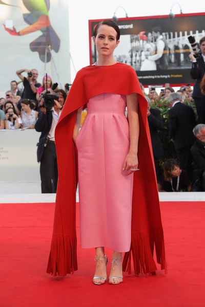 Claire Foy Evening Dress [first man premiere,flooring,carpet,fashion model,fashion,red carpet,outerwear,catwalk,gown,dress,haute couture,vanessa redgrave,first man,claire foy,sala grande,opening ceremony and lifetime achievement award,red carpet,red carpet arrivals,venice film festival,opening ceremony]