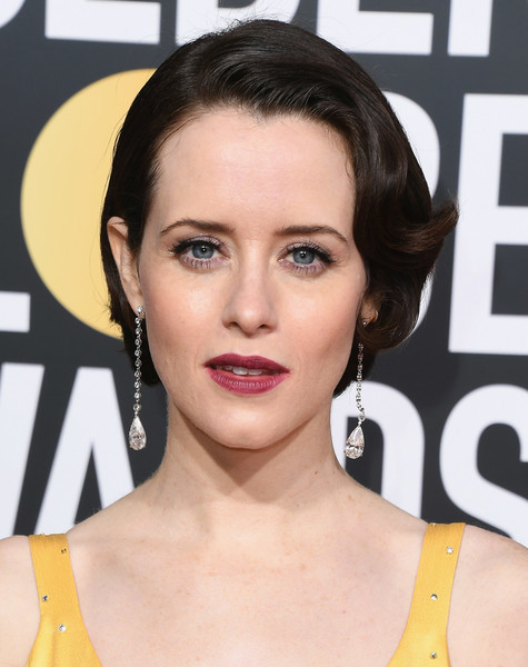 Claire Foy Bob [hair,face,hairstyle,eyebrow,lip,chin,beauty,skin,eyelash,forehead,arrivals,claire foy,the beverly hilton hotel,beverly hills,california,golden globe awards]
