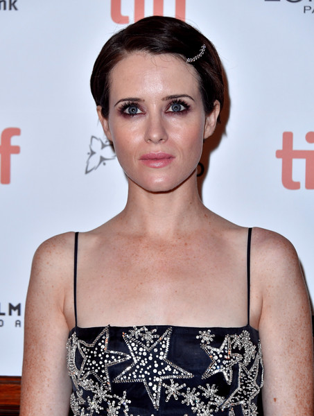 Claire Foy Short Side Part [first man premiere,hair,face,hairstyle,clothing,eyebrow,beauty,lip,fashion,forehead,dress,first man,claire foy,toronto,canada,the elgin,toronto international film festival,premiere]