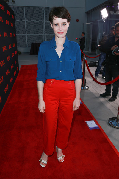 Claire Foy Button Down Shirt [red,clothing,carpet,red carpet,flooring,electric blue,fashion,cobalt blue,premiere,shoe,claire foy,for your consideration,north hollywood,california,saban media center,netflix,the crown,red carpet,event,event]