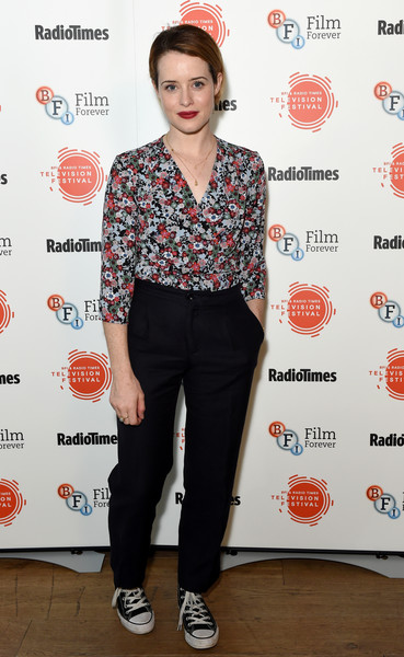 Claire Foy Print Blouse [clothing,footwear,hairstyle,fashion,shoulder,shirt,jeans,shoe,top,waist,england,london,bfi southbank,bfi radio times tv festival,claire foy]