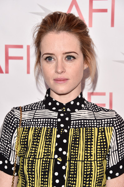 Claire Foy Messy Updo [hair,face,hairstyle,eyebrow,lip,fashion,premiere,blond,retro style,bob cut,arrivals,claire foy,los angeles,california,beverly hills,afi awards,four seasons]