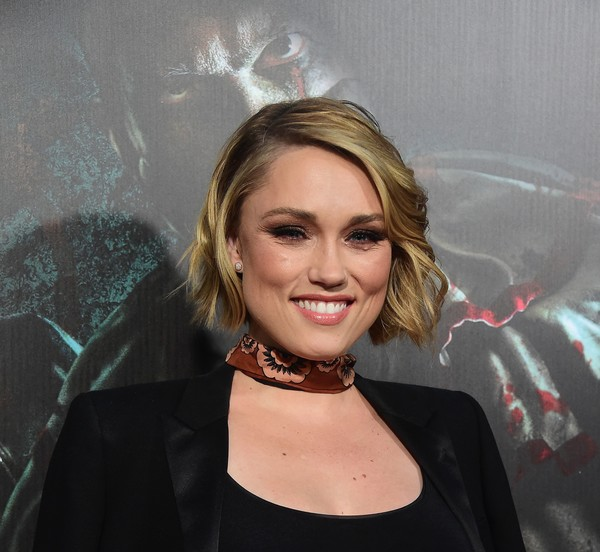Clare Grant Short Wavy Cut [hair,face,blond,hairstyle,lip,beauty,eyebrow,smile,long hair,premiere,clare grant,frederic j. brown,universal city,california,universal studios hollywood,afp,halloween horror nights,opening night celebration,arrival]