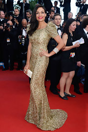 Rosario sparkled on the red carpet when she wore this golden encrusted gown with puffed sleeves and a lovely fishtail skirt.