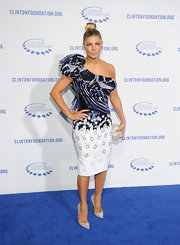"Fergie added glamor to her ensemble with glittery ""Pigalle Strass"" pumps."