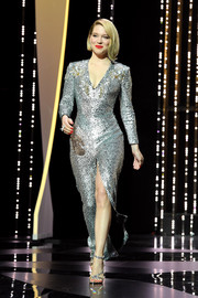 Lea Seydoux amped up the glam factor with a pair of strappy silver heels.