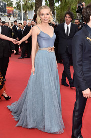Sienna Miller's slate-blue Gucci gown at the Cannes closing ceremony was a gorgeous combination of leather and lace.