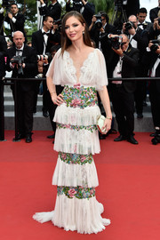 For her Cannes closing ceremony look, Georgina Chapman stuck to her ultra-feminine style with this tiered and embroidered Marchesa confection,