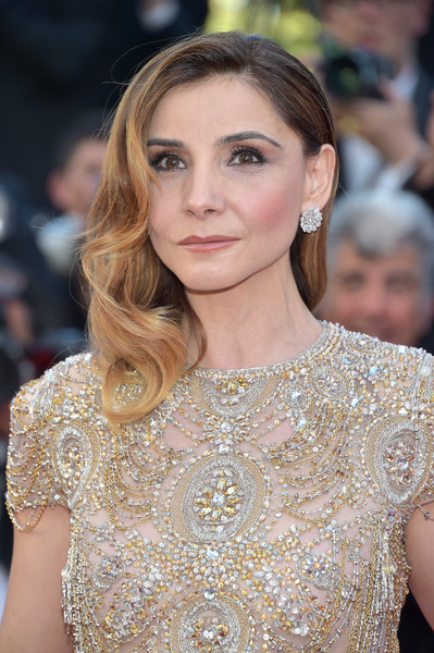 Clotilde Courau Dangling Diamond Earrings [ismaels ghosts,hair,face,hairstyle,eyebrow,beauty,blond,long hair,fashion,fashion model,dress,red carpet arrivals,clotilde courau,screening,cannes,france,cannes film festival,gala,palais des festivals,opening gala]