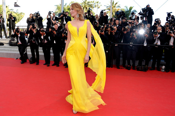 Uma Thurman in Atelier Versace at the 2014 Cannes Film Festival
