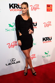 Nina wore this sexy black cutout LBD at the SI soiree in Las Vegas.