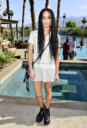 Zoe Kravitz looked super edgy in a studded shirtdress teamed with sky-high platform boots at the Coach Backstage event.