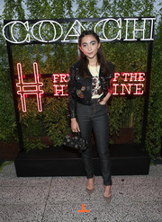 Rowan Blanchard had a rock star moment in this studded black leather jacket at the Coach and Friends of the High Line Summer Party.