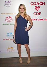 Jennifer Morrison complemented her one shoulder navy dress with nude patent Private sandals.