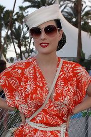 Dita donned a tilted sailor hat for her kitschy vintage style at Coachella.