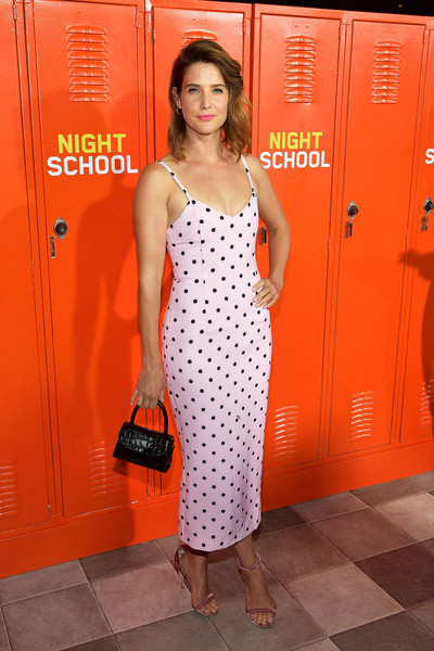 Cobie Smulders Leather Purse [night school,orange,clothing,red,dress,fashion,polka dot,photography,flooring,fashion design,long hair,arrivals,cobie smulders,california,los angeles,universal pictures,premiere,premiere]