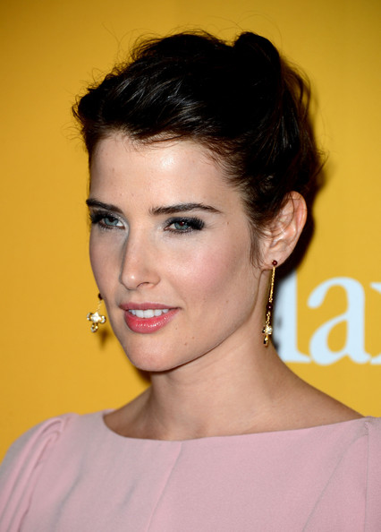 Cobie Smulders Pink Lipstick [hair,face,eyebrow,hairstyle,chin,lip,beauty,forehead,eyelash,cheek,beverly hills,california,the beverly hilton hotel,women in film crystal lucy awards,cobie smulders]