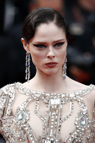 Coco Rocha Retro Updo [hair,fashion model,fashion,eyebrow,haute couture,beauty,hairstyle,lip,skin,shoulder,coco rocha,once upon a time in hollywood,screening,cannes,france,red carpet,the 72nd annual cannes film festival,cannes film festival]
