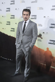 Colin Farrell hit the premiere of 'The Way Back' in a soft gray suit complete with a black tie.