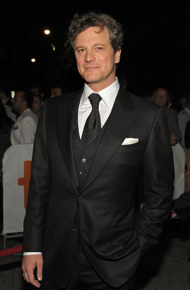 Colin Firth Dotted Tie [a single man screening,suit,formal wear,tuxedo,hairstyle,blazer,tie,premiere,white-collar worker,event,outerwear,colin firth,isabel bader theatre,toronto,canada,2009 toronto international film festival,screening]
