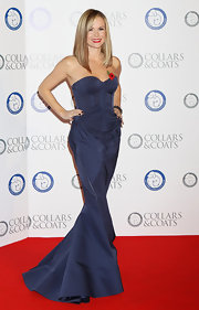 Amanda Holden worked the red carpet in a navy fishtail dress with corset detailing at the Collars & Coats Gala Ball.