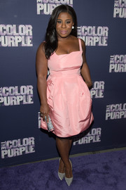 Uzo Aduba oozed sweetness in a pink fit-and-flare cocktail dress by Zac Posen during the Broadway opening of 'The Color Purple.'