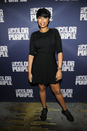 Jennifer Hudson was casual-chic in a little black skater dress at the 'Color Purple' listening party.