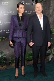 Emma Heming chose a structured pantsuit in a deep grape color for her cool and modern look at the premiere of 'After Earth.'