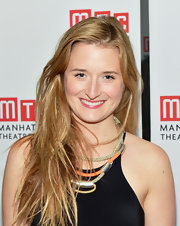 Grace Gummer attended the after party for 'The Columnist' wearing her shiny locks in long stylishly mussed layers.