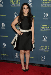 Abbi Jacobson chose a little black dress with white trim for the Comedy Central Live Upfront after-party.