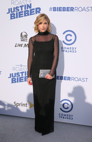 Ashley Benson brought a heavy dose of elegance to the Comedy Central Roast of Justin Bieber with this black turtleneck gown by Jeffrey Dodd.