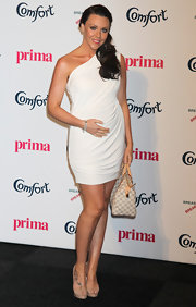 Michelle Heaton's fondness of one-shoulder dresses showed as she wore another one at the Comfort Prima High Street Fashion Awards 2011.