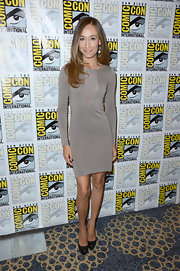 Maggie Q loves to work her petite figure in chic fitted dresses like this one.