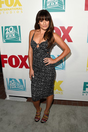 Lea Michele showed off her fab figure in a tight-fitting micro-print dress by Zimmermann during the 20th Century Fox party at Comic-Con.