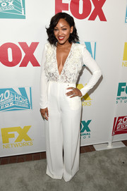 Meagan Good chose a cleavage-flaunting lace-bodice jumpsuit for the 20th Century Fox party at Comic-Con.