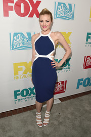 Skyler Samuels was uber cool in a body-con blue and white cutout dress during the 20th Century Fox party.