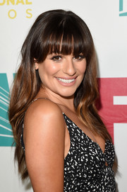 Lea Michele looked oh-so-pretty with her long waves and blunt bangs at the 20th Century Fox party during Comic-Con.