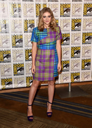Willow Shields looked striking and chic in a multicolored plaid dress by House of Holland during Comic-Con.