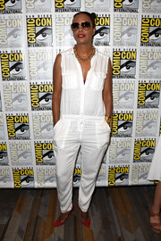 Aisha Tyler was tough-chic in a white military-pocket jumpsuit during Comic-Con International 2016.