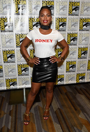 Christina Milian teamed her tee with a Mistress Rocks black leather mini skirt for a fierce finish.