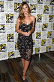 Alyson Michalka chose a pair of strappy silver heels to finish off her look.