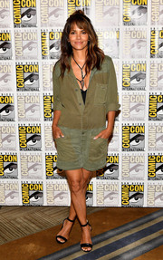 Halle Berry went tough in a military-inspired romper by Hudson Jeans at the Comic-Con press line for 'Kingsman: The Secret Service.'