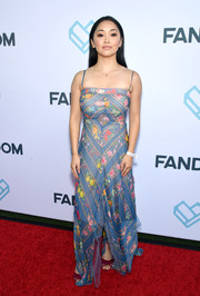 Lana Condor was a boho babe in a printed maxi dress by Tadashi Shoji at the Comic-Con International 2018 Fandom Party.