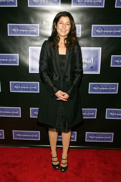 Catherine Keener wore black double ankle strap peep toe pumps to the Common Good's Tribute to Ruth Gruber.